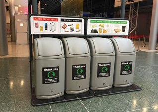 Combo recycling bin station