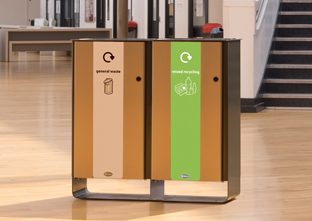 Elecra Duo Recycling bin creating a recycling station to recycle mixed recycling and for general waste