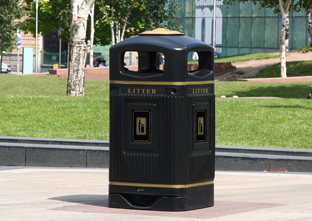 Glasdon Jubilee Litter Bin with stubbing plate and gold banding