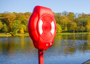 The highly visible Guardian lifebuoy housing protecting the life-saving device inside from harmful UV degradation