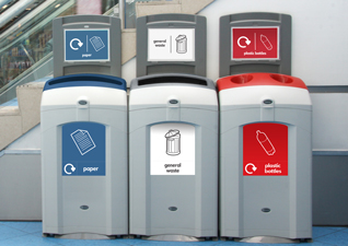 A bank of three Nexus 100 Recycling Bins