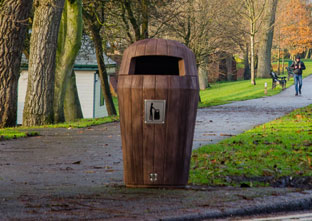 Hooded Sherwood Litter Bin in a park environment