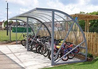 Two Bi-Store cycle storage shelters with 10 Place Rings and clear glazing