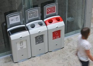 Three Nexus 100 bins creating a recycling station to recycle cans and plastic bottles and for general waste