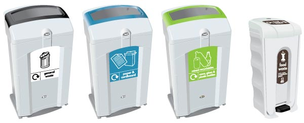 Recycling Hubs at Manchester Metropolitan University with the Glasdon Nexus 100 Recycling Bins and Nexus Shuttle Food Waste Bin
