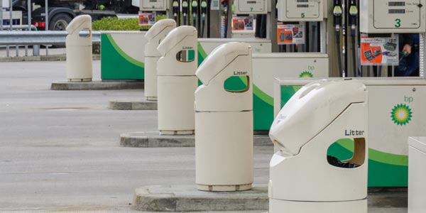 Petrol Station Fuel Pump Island Litter Bin
