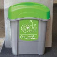 Mixed recycling bin in office
