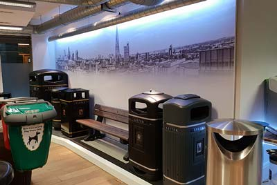 New Glasdon showroom in Central London with a selection of street furniture products