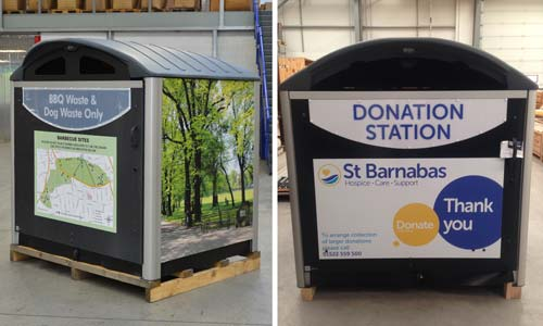Personalised Modus containers bbq waste and st barnabas hospice