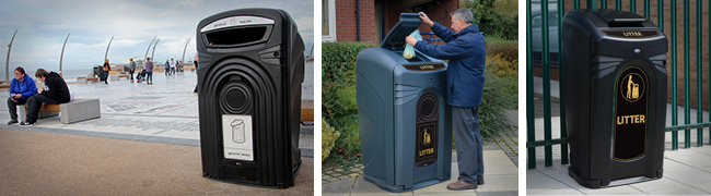 The Glasdon Nexus City 140, 240 and Nexus 360 litter bins