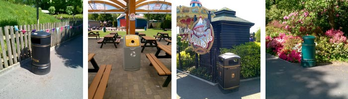 Paultons Park Outdoor Litter and Recycling Bins
