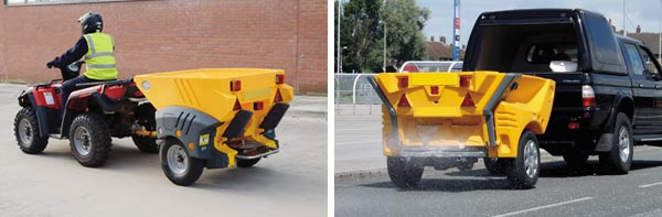 montage image of towable salt spreaders