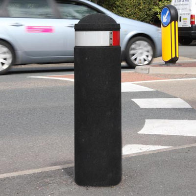Black 900mm Buffer bollard with red/white retroreflective banding - 2