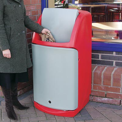 Combo catering waste bin in Red with Cool Light Grey Flap & Door