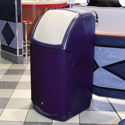 Combo catering waste bin in Dark Blue with Cool Light Grey Flap