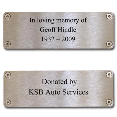 A stainless steel commemorative plaque can be supplied with the seat - please contact us for more information