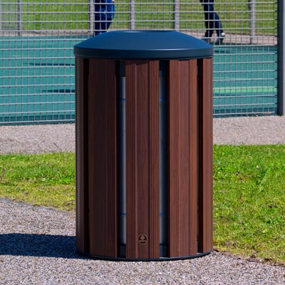 Fusion 85L litter bin - Dark Wood with Dome top