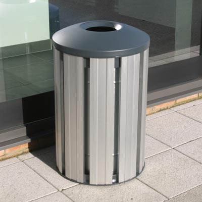 Fusion 85L litter bin - Silver with Dome top