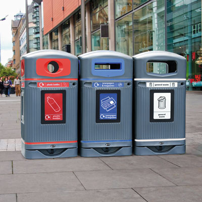 Glasdon Jubilee 110 - Grey Recycling Bins with Poster Frames
