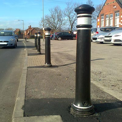 Glasdon Manchester bollard with white retroreflective banding
