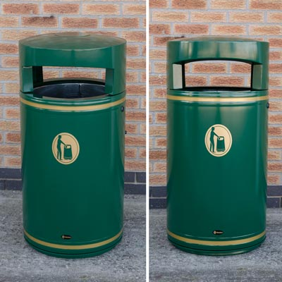 Metal Chieftain litter bin - Deep Green