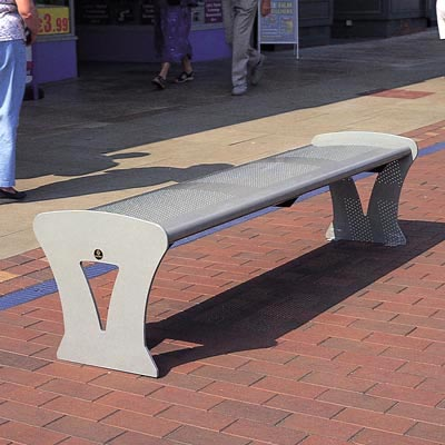 Metro bench in silver-grey