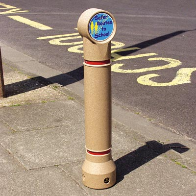 Sandstone Mini-Ensign bollard - Personalised Safer Routes To School Sign