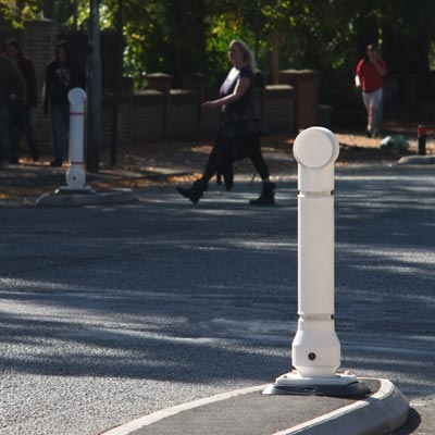 The Mini-Ensign rebound bollard is used as a cycle lane delineator.