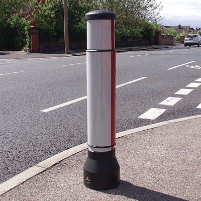 Black Neopolitan 150 bollard with red/white retroreflective banding and body sleeve