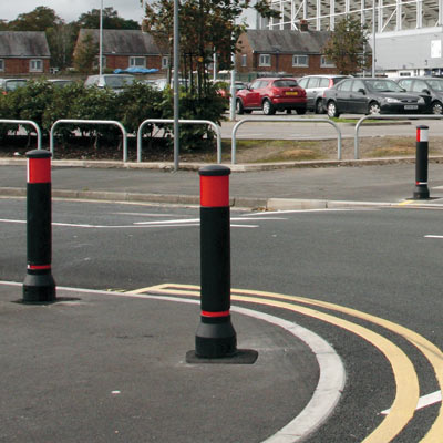 Black Neopolitan 150 bollards with red/white retroreflective banding - 2