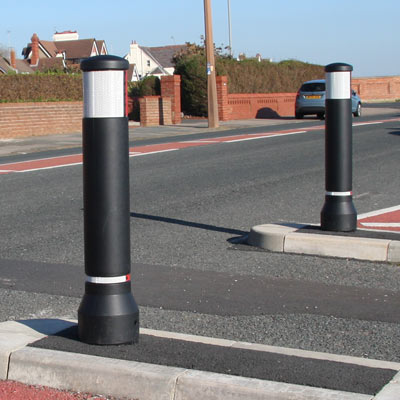 Black Neopolitan 150 bollards with red/white retroreflective banding