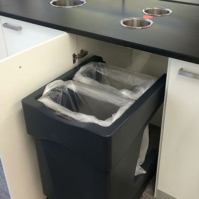 Nexus Caddy under counter recycling bin with 2 counter top waste streams