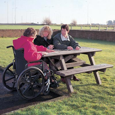 Clifton Picnic Table With Wheelchair Access Glasdon UK - Wheelchair picnic table