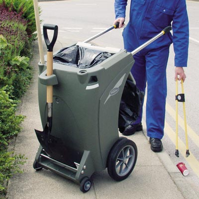 Skipper multi-purpose cleaning trolley in Dark Grey