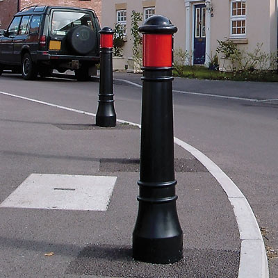 Victory bollards with red retroreflective banding - 2