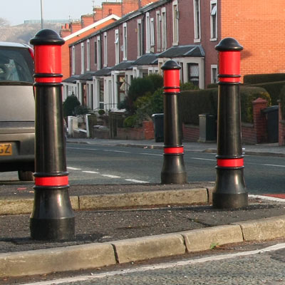 Victory bollards with red retroreflective banding