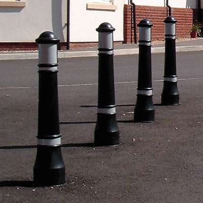 Victory bollards with white retroreflective banding