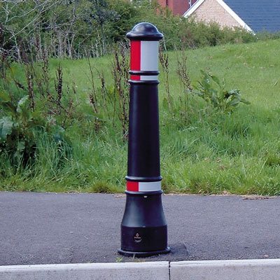 Victory bollard with red/white retroreflective banding