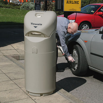 Auto-Mate petrol forecourt bin in Light Grey