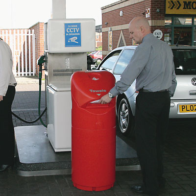 Auto-Mate petrol forecourt bin in Red