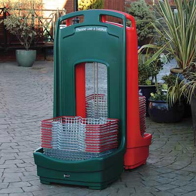Mobile Basket Buddy - storage unit for baskets in Deep Green & Red