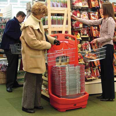 Mobile Basket Buddy - storage unit for baskets in Red - 2