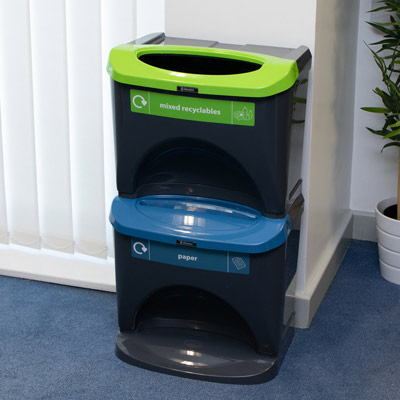 Nexus® Stack 60 Recycling Bins 602S 60 Litres - 2 Waste Streams