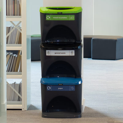 Nexus® Stack 90 Recycling Bins 903S 90 Litres - 3 Waste Streams